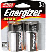 "Energizer E95Bp-2 ""D"" Alkaline 2PK Batteries"