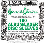 "Bags Unlimited SPPLP1234R 12""Loose Fit Resealable Poly Sleeves-100Ct"